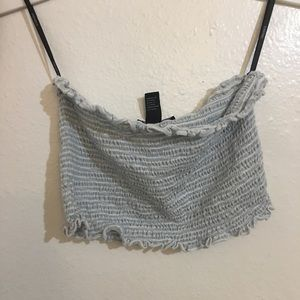 Strapless striped tube top